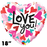 18 Inch Heart Love You Converging Hearts Foil Balloon Qualatex 1ct