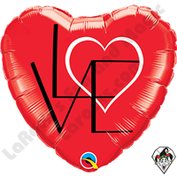 18 Inch Heart L(Heart)VE Red Foil Balloon Qualatex 1ct