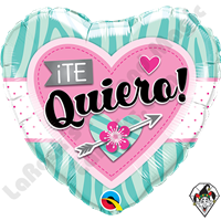 18 Inch Heart Te Quiero Aqua Zebra Stripes Foil Balloon Qualatex 1ct