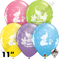 Qualatex 11 Inch Round Baby Shower Elephant Assortment Balloons 50ct