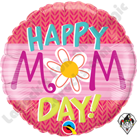 Qualatex 18 Inch Round Happy Mom Day Foil Balloon 1ct
