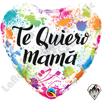 Qualatex 18 Inch Heart Te Quiero Mamá (Love You Mom) Color Splashes Foil Balloon 1ct.