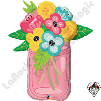 36 Inch Shape Mason Jar Bouquet Foil Balloon Qualatex 1ct
