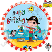 Qualatex 18 Inch Round Rachel Ellen - Birthday Pirate Foil Balloon 1ct