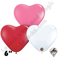 6 Inch Heart Love Assortment Rose/White/Ruby Red Qualatex 100ct
