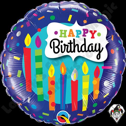 Qualatex 18 Inch Round Birthday Candles Confetti Foil Balloon 1ct