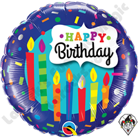 18 Inch Round Birthday Candles & Confetti Foil Balloon Qualatex 1ct.
