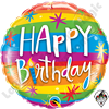 18 Inch Round Birthday Rainbow Stripes Foil Balloon Qualatex 1ct.