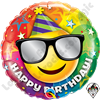18 Inch Round Birthday Smiley Foil Balloon Qualatex 1ct.