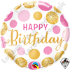 18 Inch Round Birthday Pink & Gold Dots Foil Balloon Qualatex 1ct.