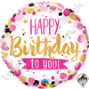 18 Inch Round Happy Birthday To You Pink & Gold Foil Balloon Qualatex 1ct.