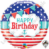 18 Inch Round Birthday Nautical & Pennants Foil Balloon Qualatex 1ct.