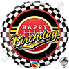 18 Inch Round Birthday Checkered Pattern Foil Balloon Qualatex 1ct.