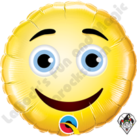 09 Inch Round Smiley Face Foil Balloon Qualatex 1ct