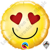 09 Inch Round Smiley Love Foil Balloon Qualatex 1ct