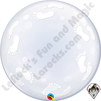 24 Inch Baby Footprints Deco Bubble Balloon Qualatex 1ct