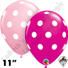 Qualatex 11 Inch Round Big Polka Dots Wild Berry & Pink Balloons 50ct