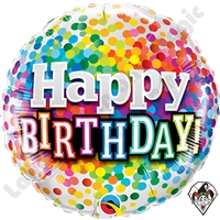 Qualatex 18 Inch Birthday Rainbow Confetti Foil Balloon 1ct