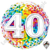 Qualatex 18 Inch 40 Rainbow Confetti Foil Balloon 1ct