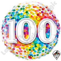 Qualatex 18 Inch 100 Rainbow Confetti Foil Balloon 1ct