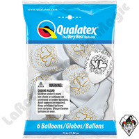 Qualatex Party Pack 11 Inch Round Entwined Hearts White w/Gold Print 6ct