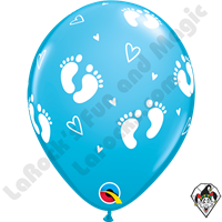 Qualatex Party Pack 11 Inch Round Baby Footprints & Hearts Robin's Egg Blue 6ct