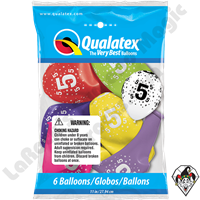 Qualatex Party Pack 11 Inch Round Stars #5-A-Round Assortment 6ct