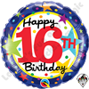 18 Inch Round 16th Birthday Stars Foil Balloon Qualatex 1ct.