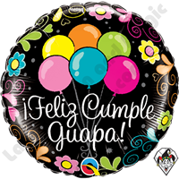 18 Inch Round Â¡Feliz Cumple Guapa! (Happy Birthday Beautiful) Foil Balloon Qualatex 1ct.