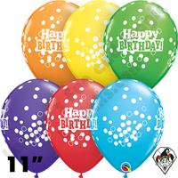 Qualatex 11 Inch Round Birthday Confetti Dots Assortment Balloons 50ct