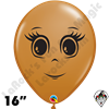 Qualatex 16 Inch Round Feminine Face Mocha Brown Balloons