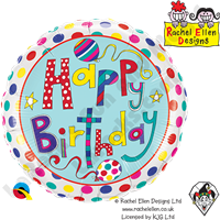 Qualatex 18 Inch Round Rachel Ellen - Birthday Polka Dots & Stripes Foil Balloon 1ct