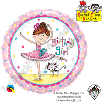 Qualatex 18 Inch Round Rachel Ellen - Birthday Girl Ballerina Foil Balloon 1ct