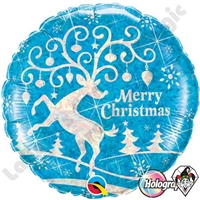 Qualatex 18 Inch Round Decorated Reindeer Foil Balloon 1ct