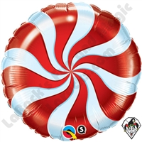 09 Inch Round Candy Swirl Red Foil Balloon Qualatex 1ct