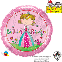 Qualatex 18 Inch Round Rachel Ellen - Birthday Princess Foil Balloon 1ct