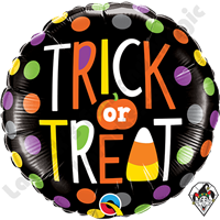 18 Inch Round Trick Or Treat Dots Foil Balloon Qualatex 1ct