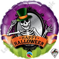 Qualatex 18 Inch Round Halloween Skeleton Mirror Foil Balloon 1ct