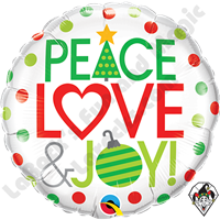 18 Inch Round Peace Love & Joy Foil Balloon Qualatex 1ct