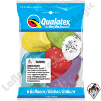 Qualatex Party Pack 11 Inch Round Congratulations Elegant 6ct Colors Vary