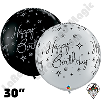 Qualatex 30 Inch Round Birthday Sparkles and Swirls-A-Round Balloons 2ct aka 3ft