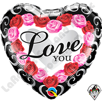 18 Inch Heart Love You Red Rose Frame Foil Balloon Qualatex 1ct