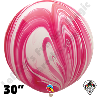 Qualatex 30 Inch Round Red/White Superagate Balloons 2ct