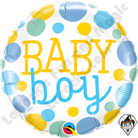 18 Inch Round Baby Boy Dots Foil Balloon Qualatex 1ct