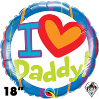 18 Inch Round I (Heart) Daddy! Foil Balloon Qualatex 1ct