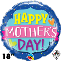18 Inch Round Mother's Day Emblem Banner Foil Balloon Qualatex 1ct