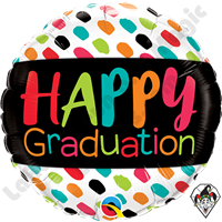 18 Inch Round Happy Graduation Color Dabs Foil Balloon Qualatex 1ct