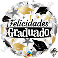 18 Inch Round Graduado Black & Gold Caps Foil Balloon Qualatex 1ct