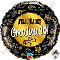18 Inch Round Graduado Black & Gold Diploma Foil Balloon Qualatex 1ct