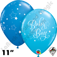 Qualatex 11 Inch Round Baby Boy Stars Robins Egg Blue & Dark Blue Balloons 50ct